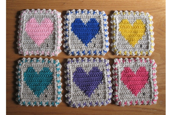 colorful heart coasters
