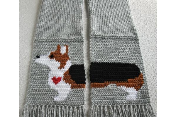 tricolor corgi scarf