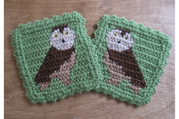 green coasters with owls