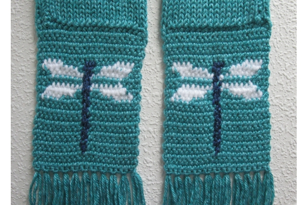 back side of dragonfly scarf