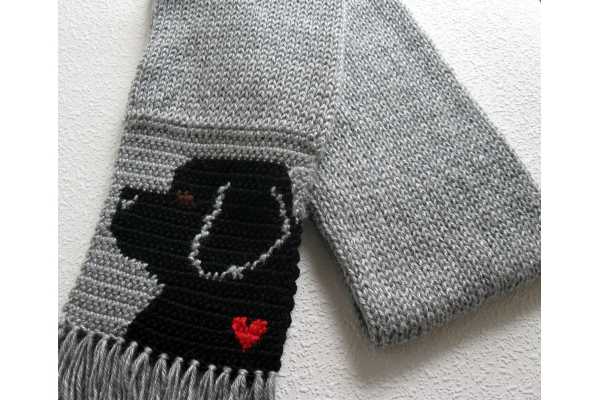 gray scarf with dogs