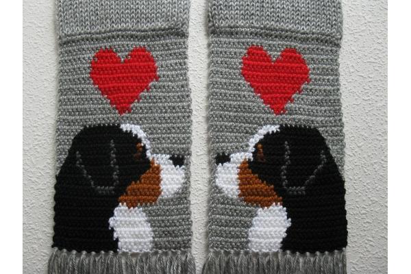 Berner dog and hearts