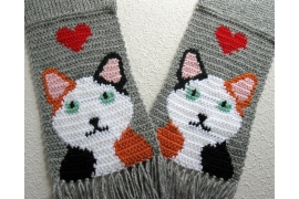 Knit calico cat scarf