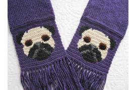 purple pug dog scarf