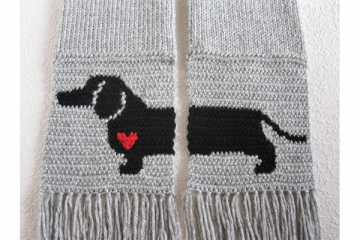 Scarves with dogs and small hearts