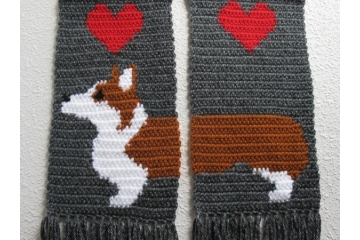 """Love My Dog"" Scarves with dogs and large hearts"
