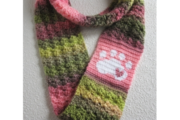 Pet Lovers Infinity Scarf. Pinks and greens circle cowl with a white paw print and heart.