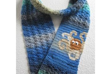 Octopus infinity scarf. Long, handmade shades of blue circle cowl