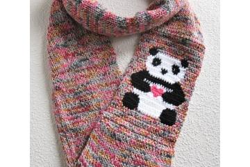Panda bear infinity scarf. Colorful cotton blend knit circle cowl.