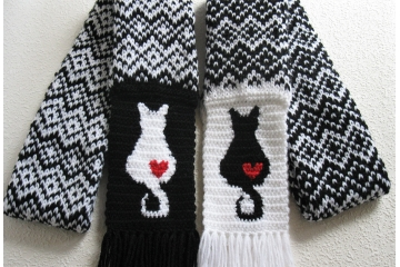 Fair Isle Cat Scarves. Black and white knit scarf with kitties and small hearts.