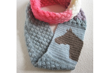 Horse infinity scarf.  Colorful, color block infinity cowl for equestrians
