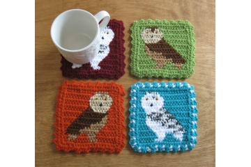 Owl cup coasters. Four color choices with white snowy or brown barn owls
