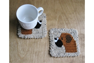 Dog coasters. Set of two, large mug rugs with fawn Boxer dogs for pet lovers.