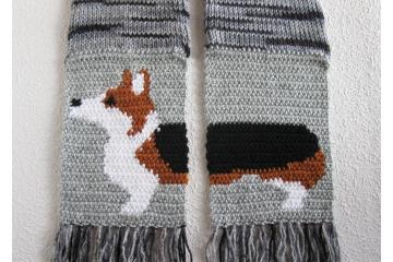Corgi Dog Scarf. Black and gray striped scarf with a tricolor Welsh corgi dog.