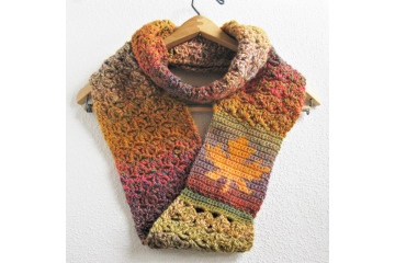 Maple leaf infinity scarf crochet pattern. Pdf instant download for autumn colors scarf