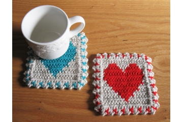 Large Heart coasters. Handmade, crochet cup coasters with 12 color options