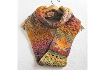 Maple leaf infinity scarf.  Long circle cowl in autumn colors