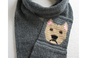 American Staffordshire infinity scarf or Pitbull scarf. Charcoal scarf with fawn AmStaff dogs