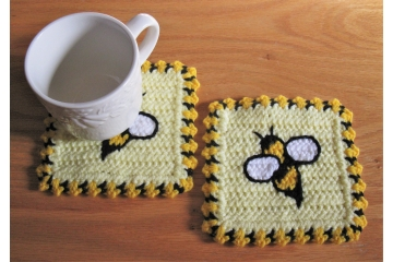 Honey Bee Coasters.  Set of two, large handmade mug rugs with bumblebees.
