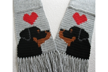 Gray Rottweiler Scarf. Knit scarf for pet lovers with red hearts and black dogs