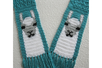 Turquoise blue scarf with crochet white Llamas or Alpacas