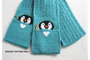 Penguin Pocket Scarf Pattern. Instant download crochet pattern