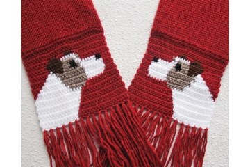 Red heather scarf with Jack Russell or Parsons terrier dogs
