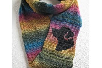 Lab Infinity Cowl. Colorful stripes scarf with a charcoal black Labrador retriever dog