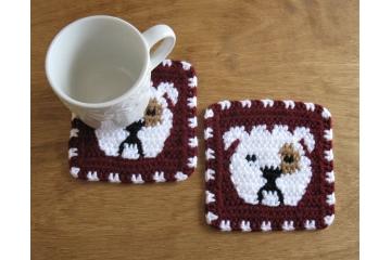 Bulldog coasters. Set of two, large burgundy mug rugs with white English bulldogs