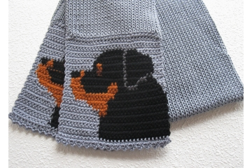 Rottweiler Scarf. Gray cotton scarf with black and tan rottie dogs for pet lovers