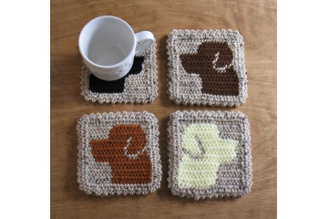 Labrador Retriever coasters. Set of two (2) light brown mug rugs with brown, rust, black or yellow Lab dogs