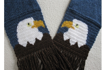 Bald Eagle Scarf.  Royal blue scarf  with  American eagles