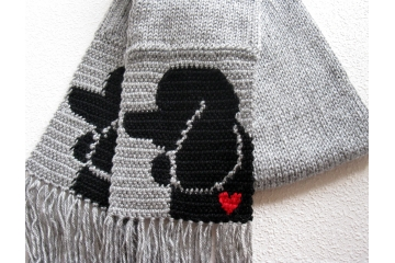 Poodle Scarf. Knit gray heather with black poodle dogs and small red hearts