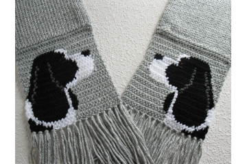 English springer spaniel scarf. Handmade, gray knit scarf with your choice of spaniel dog color