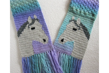 Gray horse scarf.  Colorful, textured scarf for equestrians