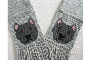 American Staffordshire or Pitbull scarf. Gray knit scarf with charcoal blue dogs