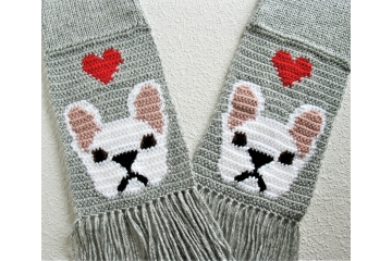 French Bulldog Scarf. Gray knit scarf with red hearts and white bulldogs