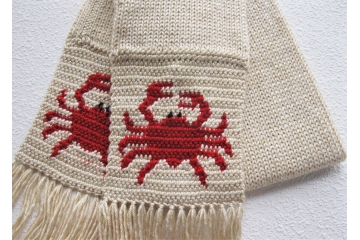 Crab scarf. Handmade, cream color scarf with little red crabs.