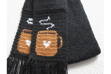 Coffee Lovers scarf.  Charcoal black scarf with orange or blue cups and white hearts