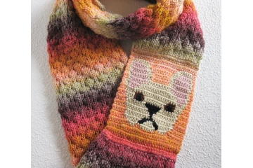 French bulldog infinity scarf. Autumn colors circle cowl with a fawn Frenchie dog