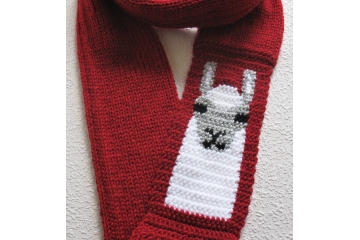 Red infinity scarf with a white Llama or Alpaca. Long, knit circle cowl