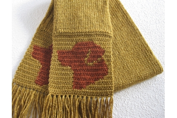 Fox red lab scarf. Gold, knit and crochet scarf with Labrador retriever silhouettes