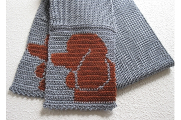 Cotton Poodle Scarf. Handmade gray scarf with sorrel red poodle dogs