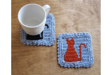 Cat coasters. Spa blue, flecked mug rugs with kitty silhouettes.