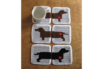 Dachshund dog coasters. Gray and white mug rugs with badger dogs and hearts.