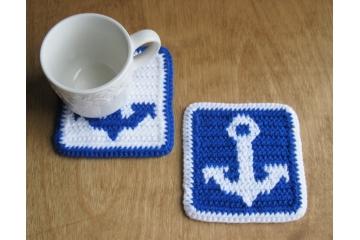 Anchor Coasters. Set of two, large blue and white nautical theme mug rugs