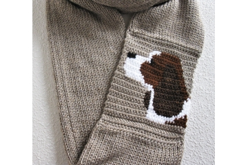 Spaniel infinity scarf. Long circle cowl with an English Springer Spaniel dog