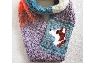 Corgi Infinity Scarf. Colorful, color block knit cowl with a Pembroke Welsh corgi dog