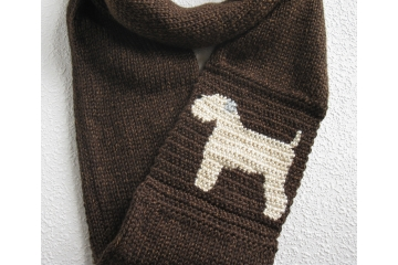 Wheaten Terrier Scarf. Brown infinity cowl with a soft coated wheaten terrier dog