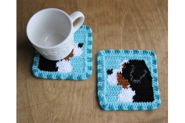 Mountain Dog coasters. Set of two, turquoise or gray mug rugs with Bernese dogs.